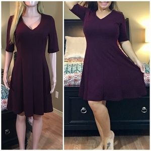 NWOT maroon stretch fit and flare dress